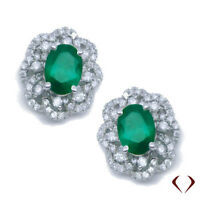 1.92CTW Emerald and Diamond Earrings F SI in 18K White Gold
