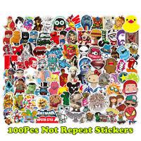100Pcs Cartoon Sticker For Luggage Skateboard Laptop Moto Bicycle Guitar Sticker