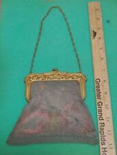 vintage mesh purse victorian whiting davis flower design gold tone cage