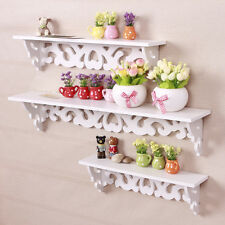 3 PCS White Filigree Floating Wall Shelves CD Book Display Storage Unit Decor
