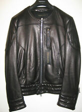 VALENTINO Black Crew Neck Leather Bomber Jacket- US SIze 12/Italian Size 48