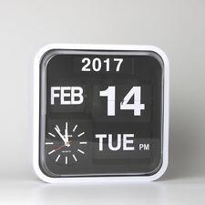 "Fartech Retro Modern 12"" Calendar Auto Flip Desk Wall Clock"
