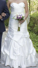 DAVIDS BRIDAL WEDDING GOWN SIZE 8 WHITE RUCHED STRAPLESS SIDE BLING WG3339 WOW
