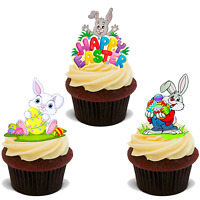 30 PREMIUM EASTER STAND UP EDIBLE RICE CARD FLAT Cup Cake Toppers decoration D25