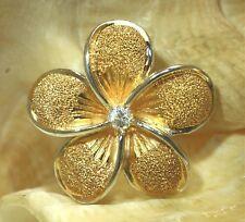 29MM YELLOW GOLD PLATED 925 SILVER HAWAIIAN GRADUATED PLUMERIA CZ SLIDE PENDANT