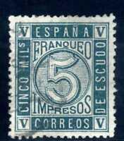 Sello de España 1867 Cifras nº 93 5 m. verde matasellado Spain ref.2