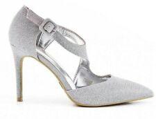 Zapatos de Novia Tacones Altos Zapatos de Noche Plata Tacón con Brillo F 41