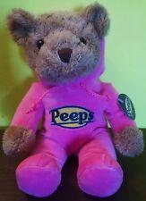 """Peeps 12"""" Brown Teddy Bear In Bright Pink Hood Suit Plush Girls  New 2016"""
