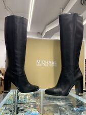 $275 Michael Kors Walker Black Leather Tall Heel Boots; Size: US 6.5M