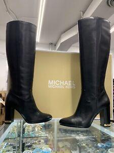 $275 Michael Kors Walker Black Leather Tall Heel Boots; Size: US 6.5M