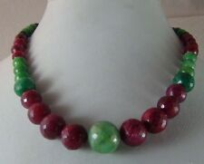 337 cts NATURAL RUBY EMERALD BALL ROUND XCLUSIV RARE BEADS FACETED CUT NECKLACE
