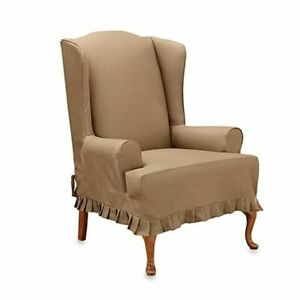 Sure Fit Cotton Duck Wing Chair T-Cushion Slipcover cocoa washable colette
