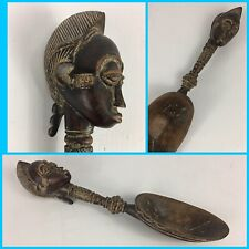 """17"""" Hand Carved Authentic Wood AFRICAN Tribal Head Handle Serving Spoon Art"""