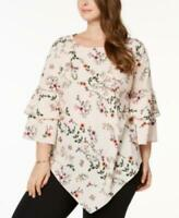 Alfani Plus Women's sz 0X Pink Crew Neck Floral Ruffle Sleeve Tunic Blouse Top