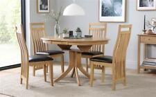 Hudson & Bali Round Extending Oak Dining Table and 4 6 Chairs Set (Brown)