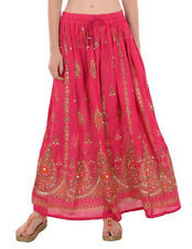 Pink Boho Bohemian Gypsy Hippie Lotus Flower Silver Sequin Indian Paisley Skirt