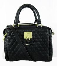 BETSEY JOHNSON 'TRIPLE ENTRY' Black Quilted Leather Satchel Shoulder Bag Msrp$98
