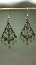 Beautiful Chandler w Antique Pink Swarovski crystal Dangle Earrings