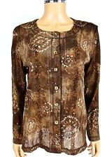 COLDWATER CREEK Sheer Glitter Blouse SIZE 6 Bronze Floral Boho Top Shirt