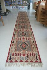 Vtg. Turkish Kilim Flat Weave Wool Hand Woven Runner Rug 3.3x15 Red Blue Green