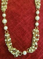 Vintage Gold Tone White Faux Pearls Multi Strands Layered Statement Necklace
