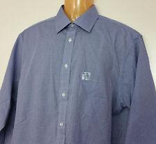 Arrow Dress Shirt Ultra Blue Plaid Classic Fit 18 34/35 Large L Wrinkle