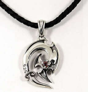 FISHHOOK & AXE 925 STERLING SILVER MENS PENDANT LEATHER NECKLACE CHAIN NEW BIKER