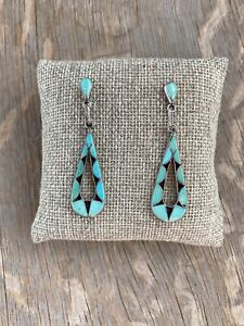 Vintage Old Pawn Dead Pawn Zuni Turquoise Earrings