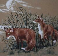 The Cunning Fox by Moonlight Watercolour with Bodycolour Unsigned c1990s British