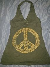 FLOWERS By Zoe Girls Dress Size 5 Olive Green Halter Gold Peace Sign Super Cute
