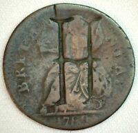 1788 or 89 Great Britain US Colonial 1/2 Penny Coin Machin's MIlls Counterstamp