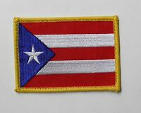 PUERTO RICO FLAG RECTANGLE EMBROIDERED PATCH 2.5 X 3.5 INCHES