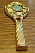 Vintage Gold Tennis Racquet w 2 Sm. Round Picture Photo Frames Swivel in center