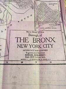 Antique Map NYC MANHATTAN BRONX 1923 RARE