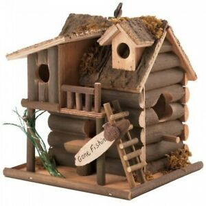 Gone Fishin' Wood Birdhouse Lake Log Cabin Camping Rustic Birdwatching