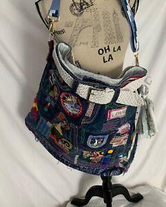 NEW HANDMADE Upcycled Distressed DENIM Boho Crossbody EXTRA LARGE Shoulder Bag