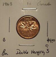 B Canada Elizabeth II 1963 Double Hanging 3 Small Cent - BU