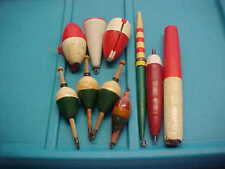 VINTAGE Lot Of 10 Old Fishing Bobbers Float Cork Most Wooden Bass Crappie Lures