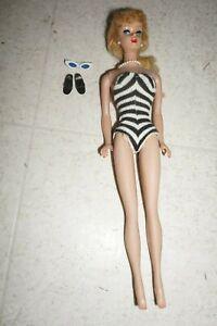 Vintage Barbie Doll Blonde Ponytail Zebra Swimsuit Japan Sunglasses Shoes