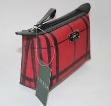 NWT RALPH LAUREN Red & Black Plaid SWANFIELD 100% Leather Strap Cosmetic Pouch