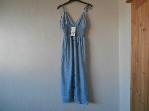 zara blue floral midi dress size m bnwt