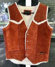 Vintage Wrangler Cowhide/Suede/Leather Western Vest  Sherpa Texas Longhorns