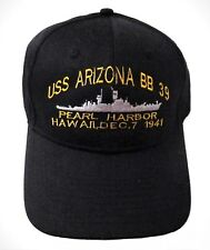 USS Arizona BB 39 Pearl Harbor, Hawaii - Baseball Cap - Black Embroidered