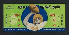 1962 NOTRE DAME FIGHTING IRISH @ NAVY MIDSHIPMEN FOOTBALL FULL TICKET - STAUBACH