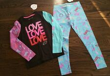 NWT LITTLE MISS MATCHED 2-PC SET TOP LEGGINGS LOVE HEARTS LIPS BLING BLUE - 6