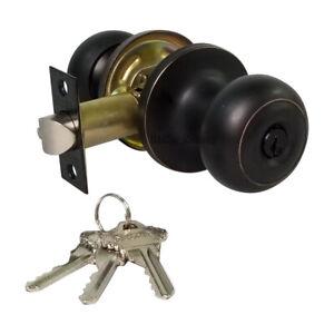 High Quality Door Knob Lock Entry Keyed Cylinder 3 Key Exterior Interior Sc1 ORB