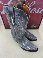 LUCCHESE M3587 GY CRACKLE CALF W/ULAYS WP WOMENS WESTERN BOOT