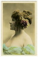 c 1905 French Glamour BUSTY BEAUTY tinted photo postcard