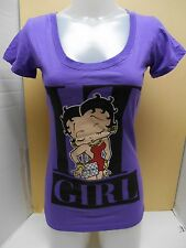 NEW JUNIORS BETTY BOOP SCOOP NECK PURPLE IT GIRL GRAPHICS S, L, M SHORT SLEEVE