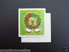 #F79- Unused Marjorie M. Cooper Xmas Greeting Card, Cute Angels Peaking in, Rare